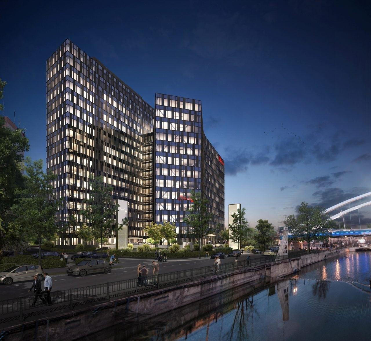 Bukarest-Büro-Orchidea-Towers-Visualisierung-Nacht