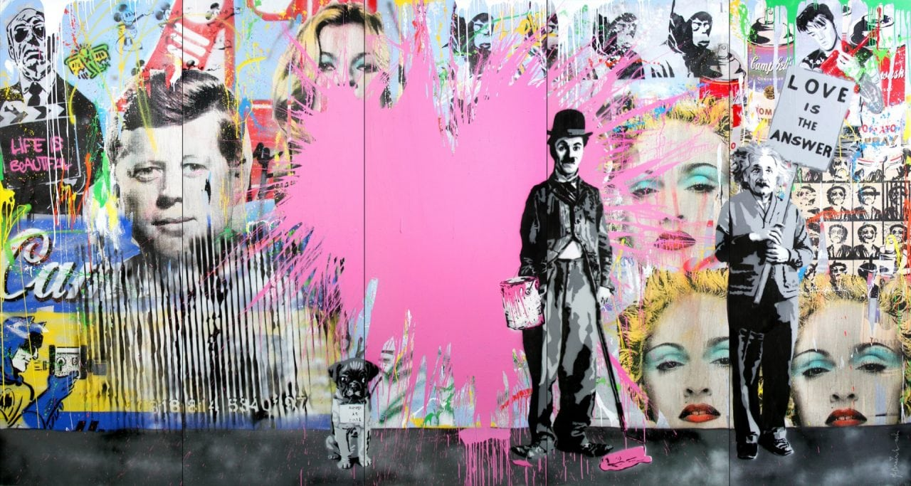 Mr. Brainwash (B. 1966 - ), Juxtapose, 2014, Stencil and Mixed Media on Canvas (PRNewsFoto/Contessa Gallery)