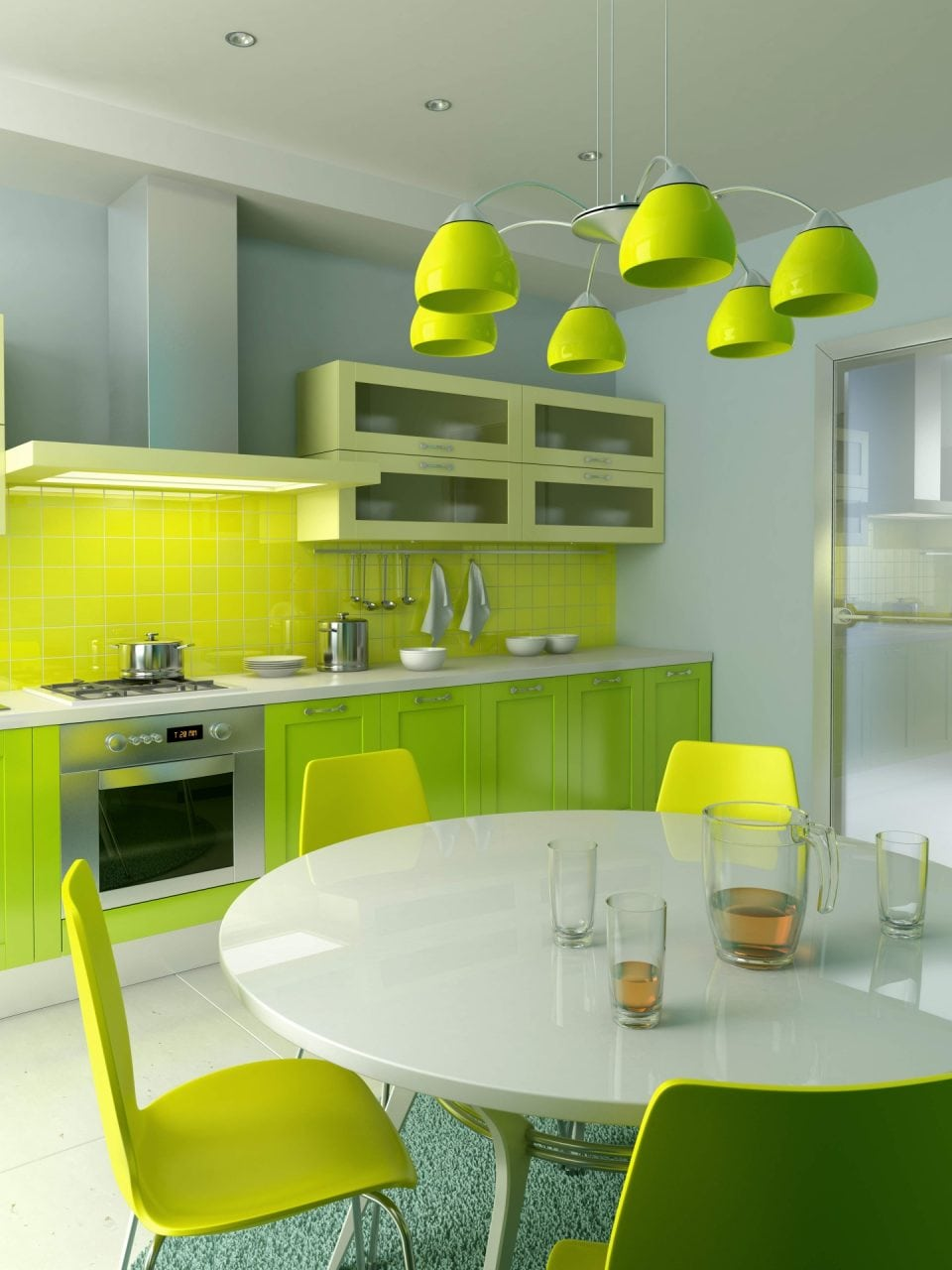 spectacular colorful apartment decoration kitchen furnishing ideas with gloss acrylic green kitchen cabinets and rounded white acrylic breakfast table sets spectacular - Imobiliare.ro: Interesul pentru apartamente noi s-a triplat in patru ani