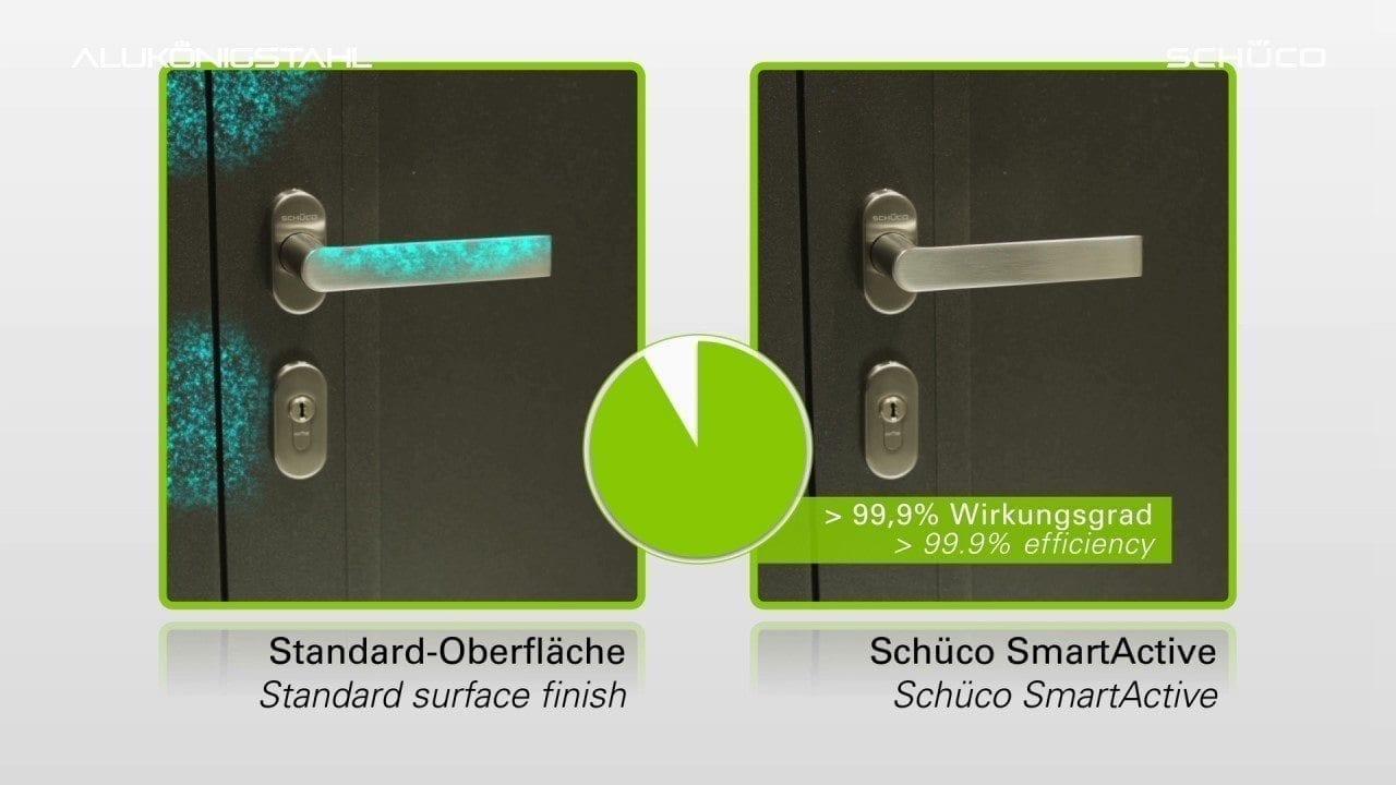 smartactive efect - Schüco SmartActive, protecție antimicrobiană pentru mânere de ferestre si profile din aluminiu.