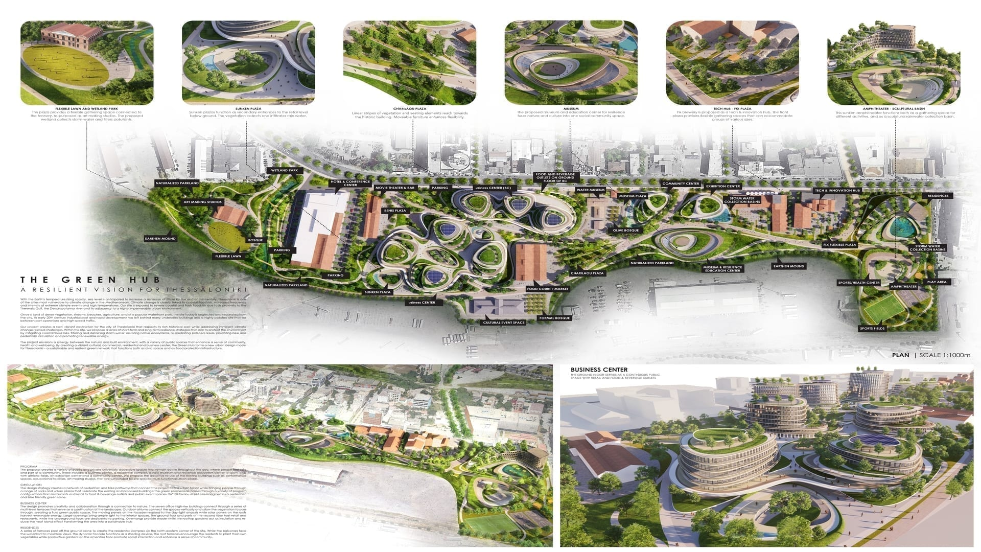 2nd Prize The Green Hub 1 1920X1080 - ArXellence 2: participare impresionantă la Competiția de Arhitectură realizată de ALUMIL pentru crearea noului Central Business District (CBD) din Salonic, Grecia