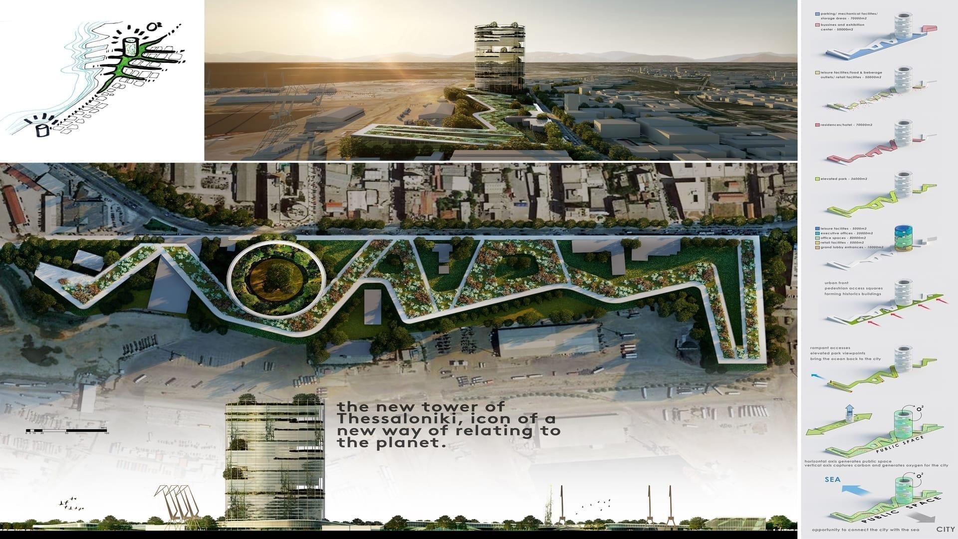 4th Prize Bioclimatic Urban Lighthouse 1 1920X1080 - ArXellence 2: participare impresionantă la Competiția de Arhitectură realizată de ALUMIL pentru crearea noului Central Business District (CBD) din Salonic, Grecia